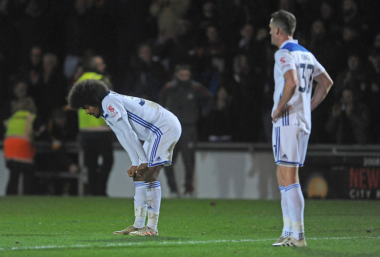 Leicester City's Hamza Choudhury dejected at the final whistle <br /> <br /> Photographer Ian Cook/CameraSport<br /> <br /> The Emirates FA Cup Third Round - Newport County v Leicester City - Sunday 6th January 2019 - Rodney Parade - Newport<br />  <br /> World Copyright &copy; 2019 CameraSport. All rights reserved. 43 Linden Ave. Countesthorpe. Leicester. England. LE8 5PG - Tel: +44 (0) 116 277 4147 - admin@camerasport.com - www.camerasport.com