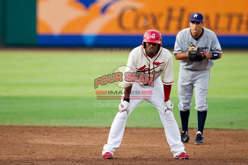 Daryl Jones (4) of the Springfield Cardinals takes a lead off of second base during a game against the Northwest Arkansas Naturals and the Springfield Cardinals at Hammons Field on July 30, 2011 in Springfield, Missouri. Springfield defeated Northwest Arkansas 11-5. (David Welker / Four Seam Images)