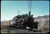 RGS #455 with a freight passing approaching Telluride eastbound.<br /> RGS    Taken by August, Irving - 4/15/1949