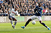 Preston North End's Darnell Fisher has his cross charged down by Blackburn Rovers' Amari'i Bell<br /> <br /> Photographer Rich Linley/CameraSport<br /> <br /> The EFL Sky Bet Championship - Preston North End v Blackburn Rovers - Saturday 26th October 2019 - Deepdale Stadium - Preston<br /> <br /> World Copyright © 2019 CameraSport. All rights reserved. 43 Linden Ave. Countesthorpe. Leicester. England. LE8 5PG - Tel: +44 (0) 116 277 4147 - admin@camerasport.com - www.camerasport.com