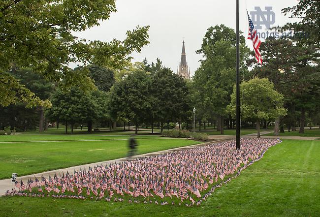 Sep. 11, 2014; 9/11 memorial on South Quad. (Photo by Matt Cashore/University of Notre Dame)