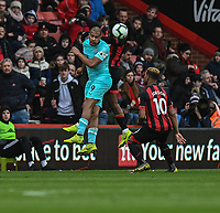 Bournemouth's Jordon Ibe (right) battles with Newcastle United's Jose Salomon Rondon (left) <br /> <br /> Photographer David Horton/CameraSport<br /> <br /> The Premier League - Bournemouth v Newcastle United - Saturday 16th March 2019 - Vitality Stadium - Bournemouth<br /> <br /> World Copyright © 2019 CameraSport. All rights reserved. 43 Linden Ave. Countesthorpe. Leicester. England. LE8 5PG - Tel: +44 (0) 116 277 4147 - admin@camerasport.com - www.camerasport.com