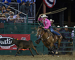 Tyson Durfey from Weatherford TX won the Tie-Down Roping event during the Reno Rodeo in Reno, Nevada on Saturday, June 23, 2018.