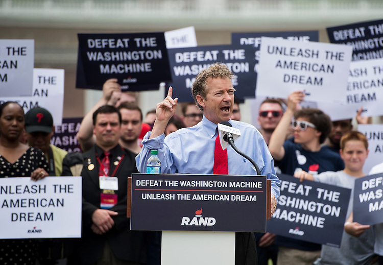 UNITED STATES - MAY 18: Presidential candidate Sen. Rand Paul, R-Ky., speaks outside of Independence Hall in Philadelphia on Monday, May, 18, 2015. (Photo By Bill Clark/CQ Roll Call)