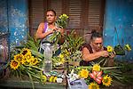 Havana, Cuba: Flower vendors near the Egido Marketplace