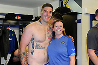Matt Banahan and Helen Shand of Bath Rugby pose for a photo after the match. Aviva Premiership match, between Bath Rugby and London Irish on May 5, 2018 at the Recreation Ground in Bath, England. Photo by: Patrick Khachfe / Onside Images