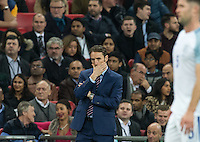 England Caretaker Manager (Head Coach) Gareth Southgate appears frustrated during the International Friendly match between England and Spain at Wembley Stadium, London, England on 15 November 2016. Photo by Andy Rowland.