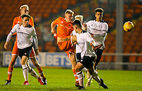 Blackpool's Owen Watkinson shoots at goal<br /> <br /> Photographer Alex Dodd/CameraSport<br /> <br /> The FA Youth Cup Third Round - Blackpool U18 v Derby County U18 - Tuesday 4th December 2018 - Bloomfield Road - Blackpool<br />  <br /> World Copyright &copy; 2018 CameraSport. All rights reserved. 43 Linden Ave. Countesthorpe. Leicester. England. LE8 5PG - Tel: +44 (0) 116 277 4147 - admin@camerasport.com - www.camerasport.com