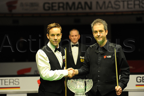 5th February 2017, The Tempodrom, Berlin, Germany; German Masters Final; Anthony Hamilton versus Allister Carter; Anthony Hamilton (R) plays against his compatriot Allister Carter (L); Anthony Hamilton won the match 9-6