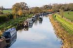 Narrowboats on Kennet and Avon canal, from Ladies bridge, Wilcot, near Woodborough, Wiltshire, England, UK