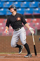 Ryan Adams #3 of the Frederick Keys follows through on his swing versus the Winston-Salem Dash at Wake Forest Baseball Stadium August 6, 2009 in Winston-Salem, North Carolina. (Photo by Brian Westerholt / Four Seam Images)