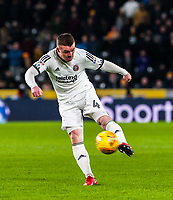 Sheffield United's midfielder John Fleck (4) strikes on goal during the Sky Bet Championship match between Hull City and Sheff United at the KC Stadium, Kingston upon Hull, England on 23 February 2018. Photo by Stephen Buckley / PRiME Media Images.