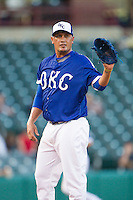 Oklahoma City Dodgers pitcher Freddy Garcia (47) on the mound against the Nashville Sounds at Chickasaw Bricktown Ballpark on April 15, 2015 in Oklahoma City, Oklahoma. Oklahoma City won 6-5. (William Purnell/Four Seam Images)