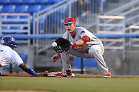Clearwater Threshers first baseman Zach Green (12) waits for a throw during a game against the Dunedin Blue Jays on April 10, 2015 at Florida Auto Exchange Stadium in Dunedin, Florida.  Clearwater defeated Dunedin 2-0.  (Mike Janes/Four Seam Images)
