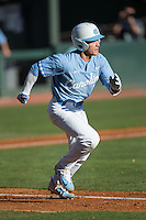 Logan Warmoth (7) of the North Carolina Tar Heels hustles down the first base line against the Kentucky Wildcats at Boshmer Stadium on February 17, 2017 in Chapel Hill, North Carolina.  The Tar Heels defeated the Wildcats 3-1.  (Brian Westerholt/Four Seam Images)