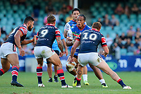 Agnatius Paasi looks to take on the defence. Sydney Roosters v Vodafone Warriors, NRL Rugby League. Allianz Stadium, Sydney, Australia. 31st March 2018. Copyright Photo: David Neilson / www.photosport.nz