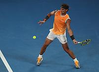 16th January 2019, Melbourne Park, Melbourne, Australia; Australian Open Tennis, day 3; Rafae l  Nadal of Spain returns a ball during a match  against Matthew Eden of Australia