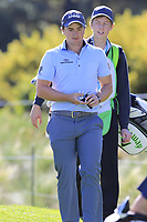 Paul Dunne (IRL) walks to the 1st tee during Thursday's Round 1 of the 2018 AT&amp;T Pebble Beach Pro-Am, held over 3 courses Pebble Beach, Spyglass Hill and Monterey, California, USA. 8th February 2018.<br /> Picture: Eoin Clarke | Golffile<br /> <br /> <br /> All photos usage must carry mandatory copyright credit (&copy; Golffile | Eoin Clarke)