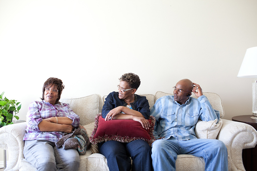 DNA Exonerated prisoner Thomas McGowan, right, sits next to his girlfriend Kim Moses and his mother Virginia McGowan, left, in his home in Garland, Texas.
