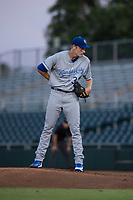 AZL Royals starting pitcher Zach Haake (38) looks to his catcher for the sign during an Arizona League game against the AZL Giants Black at Scottsdale Stadium on August 7, 2018 in Scottsdale, Arizona. The AZL Giants Black defeated the AZL Royals by a score of 2-1. (Zachary Lucy/Four Seam Images)