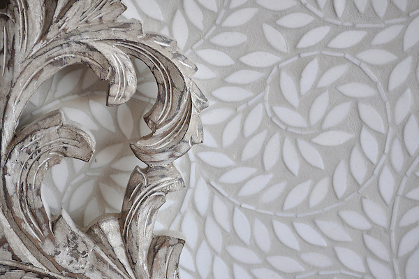 Jacqueline Vine, a handmade mosaic shown in tumbled waterjet-cut Thassos, is part of the Silk Road collection by Sara Baldwin for New Ravenna.