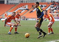 Oxford United's Jordan Graham under pressure from Blackpool's Nick Anderton and Oliver Turton<br /> <br /> Photographer Kevin Barnes/CameraSport<br /> <br /> The EFL Sky Bet League One - Blackpool v Oxford United - Saturday 23rd February 2019 - Bloomfield Road - Blackpool<br /> <br /> World Copyright © 2019 CameraSport. All rights reserved. 43 Linden Ave. Countesthorpe. Leicester. England. LE8 5PG - Tel: +44 (0) 116 277 4147 - admin@camerasport.com - www.camerasport.com