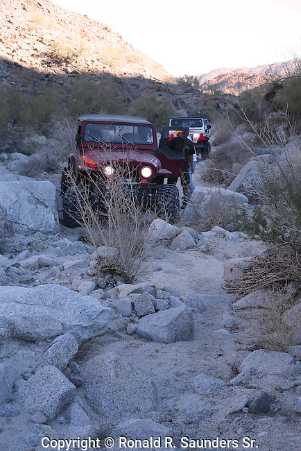 Jeep driver comes to rescue of stranded off-road driver.<br /> (2)