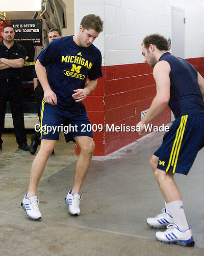 Chris Summers (Michigan - 4), Tristin Llewellyn (Michigan - 34) - The Boston University Terriers defeated the University of Michigan Wolverines 3-2 on Saturday, October 24, 2009, at Agganis Arena in Boston, Massachusetts.