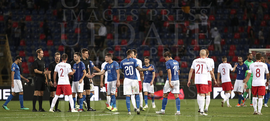 Football: Uefa Nations League match Italy vs Poland, Renato Dall'Ara stadium, Bologna, Italy, September 7, 2018. <br /> Italy's national team greets Poland's national team at the end of the Uefa Nations League match between Italy and Poland at the Renato Dall'Ara stadium, Bologna, Italy, September 7, 2018. <br /> Italy and Poland drawns 1-1.<br /> UPDATE IMAGES PRESS/Isabella Bonotto