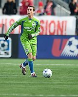 Zach Scott (20) of the Seattle Sounders FC in MLS action at BMO Field on April 4, 2009.Seattle won 2-0.