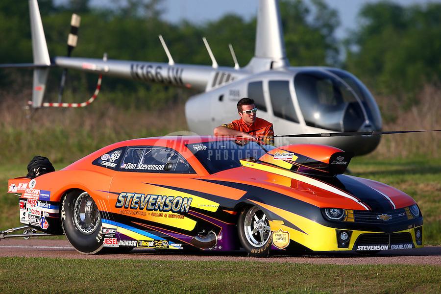 Apr 25, 2014; Baytown, TX, USA; NHRA pro mod driver Dan Stevenson during qualifying for the Spring Nationals at Royal Purple Raceway. Mandatory Credit: Mark J. Rebilas-