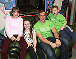 25/10/2014.   Munster Rugby's Tommy O'Donnell an ambassador of iCAN (Irish Childrens Arthritis Network)photographed on Saturday in Kids Town, Gillogue with Lara Pearse, Aisling Sleator and Lucy Kennedy.<br /> Picture: Liam Burke/Press 22
