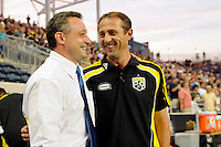 Philadelphia Union manager Peter Nowak and Columbus Crew head coach Robert Warzycha chat before the game. The Columbus Crew defeated the Philadelphia Union 2-1 during a Major League Soccer (MLS) match at PPL Park in Chester, PA, on August 05, 2010.