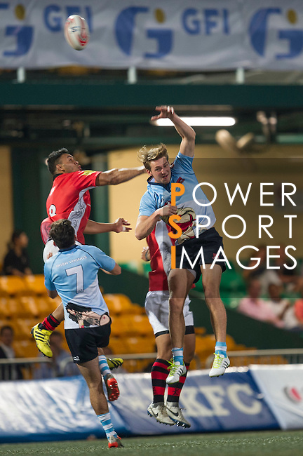 BCG Asia Pacific Dragons (in red) play against Irish Vikings (in blue) during GFI HKFC Rugby Tens 2016 on 06 April 2016 at Hong Kong Football Club in Hong Kong, China. Photo by Juan Manuel Serrano / Power Sport Images