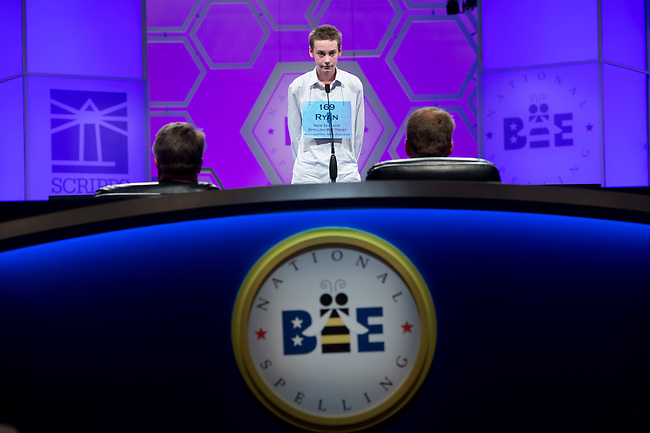 New Zealand Speller 169 Ryan McLellan competes in the preliminary rounds of the Scripps National Spelling Bee at the Gaylord National Resort and Convention Center in National Habor, Md., on Wednesday,  May 30, 2012. Photo by Bill Clark
