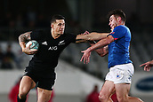 16th June 2017, Eden Park, Auckland, New Zealand; International Rugby Pasifika Challenge; New Zealand versus Samoa;  Sonny Bill Williams of New Zealand fends against Kieron Fonotia of Samoa