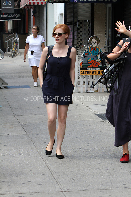 WWW.ACEPIXS.COM....August 20, 2012, New York City.......Actress Jessica Chastain on the set of her new movie, 'The Disappearance of Eleanor Rigby', on August 20, 2012 in New York City.......By Line: Zelig Shaul/ACE Pictures....ACE Pictures, Inc..Tel: 646 769 0430..Email: info@acepixs.com