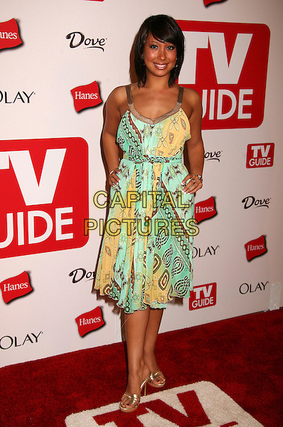 CHERYL BURKE.The TV Guide After Party following the 58th Annual Primetime Emmy Awards, Los Angeles, California, USA..August 27th, 2006.Ref: ADM/BP.full length green yellow dress hands on hips.www.capitalpictures.com.sales@capitalpictures.com.©Byron Purvis/AdMedia/Capital Pictures.