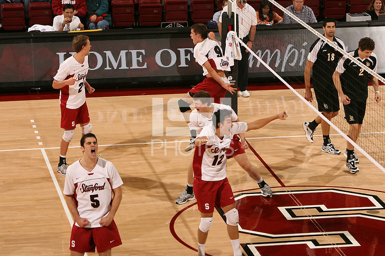 STANFORD, CA - JANUARY 30:  Kawika Shoji of the Stanford Cardinal during Stanford's 3-2 win over the Long Beach State 49ers on January 30, 2009 at Maples Pavilion in Stanford, California. Also pictured are Brad Lawson, Spencer McLachlin, Evan Romero and Gus Ellis.