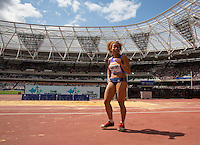 Jazmin Sawyers of GBR (Women's Long Jump) punches the air after a great jump during the Long Jump during the Sainsbury's Anniversary Games, Athletics event at the Olympic Park, London, England on 25 July 2015. Photo by Andy Rowland.