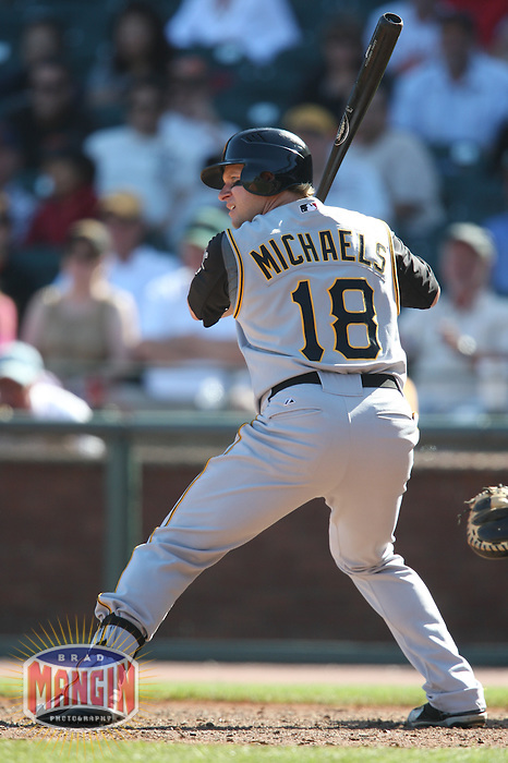 SAN FRANCISCO - SEPTEMBER 7:  Jason Michaels of the Pittsburgh Pirates bats during the game against the San Francisco Giants at AT&T Park in San Francisco, California on September 7, 2008.  The Giants defeated the Pirates 11-6.  Photo by Brad Mangin