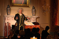 October 27, 2011  (Washington, DC)  Actor Harry A. Winter plays Benjamin Franklin at the 50th Anniversary of the Diplomatic Rooms at the State Department in Washington.  Attending the reception was Secretary of State Hillary Rodham Clinton, and former Secretaries of State Henry Kissinger, Madeleine K. Albright and Colin Powell.   (Photo by Don Baxter/Media Images International)