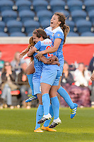 Bridgeview, IL, USA - Saturday, April 23, 2016: Chicago Red Stars defender Casey Short (6) celebrates a first half goal with midfielder Danielle Colaprico (24) and forward Sofia Huerta (11) during a regular season National Women's Soccer League match between the Chicago Red Stars and the Western New York Flash at Toyota Park. Chicago won 1-0.