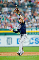 Tampa Bay Rays third baseman Evan Longoria (3) fields a ground ball against the Detroit Tigers at Comerica Park on June 4, 2013 in Detroit, Michigan.  The Tigers defeated the Rays 10-1.  Brian Westerholt/Four Seam Images