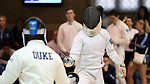 11 February 2017: UNC's Jason Xu (right) and Duke's Aidan McGinnis (left) during Epee. The Duke University Blue Devils hosted the University of North Carolina Tar Heels at Card Gym in Durham, North Carolina in a 2017 College Men's Fencing match. Duke won the dual match 19-8 overall, 6-3 Foil, 6-3 Epee, and 7-2 Saber.
