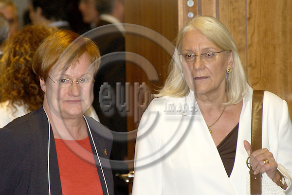 Brussels-Belgium - 16 June 2005---European Summit / Council meeting of European Heads of State/Government and their Foreign Ministers; here, Tarja HALONEN (le), President of  Finland, with Laila FREIVALDS (ri), Foreign Minister of Sweden---Photo: Horst Wagner/eup-images
