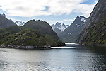 Entrance to Trollfjorden fiord, Lofoten Islands, Nordland, northern, Norway