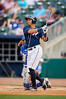 Northwest Arkansas Naturals first baseman Mauricio Ramos (3) takes a practice swing during a game against the Midland RockHounds on May 27, 2017 at Arvest Ballpark in Springdale, Arkansas.  NW Arkansas defeated Midland 3-2.  (Mike Janes/Four Seam Images)