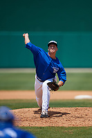 Dunedin Blue Jays relief pitcher Connor Law (33) during a Florida State League game against the Jupiter Hammerheads on May 16, 2019 at Jack Russell Memorial Stadium in Clearwater, Florida.  Dunedin defeated Jupiter 1-0.  (Mike Janes/Four Seam Images)