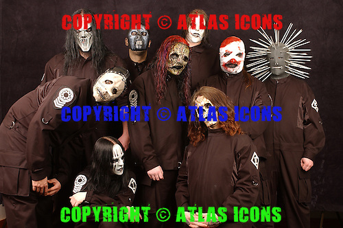 Slipknot Group Studio Portrait Session In Desmoines Iowa  2001.Photo Credit: Eddie Malluk/Atlas Icons.com